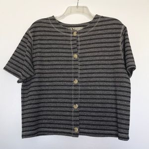 VINTAGE Black striped crop button up sweater top